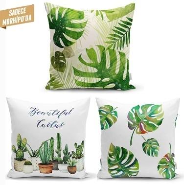 Real Homes Çöl Bitkileri Cactus Dekoratif 3'lü Kırlent Kılıfı Seti Renkli